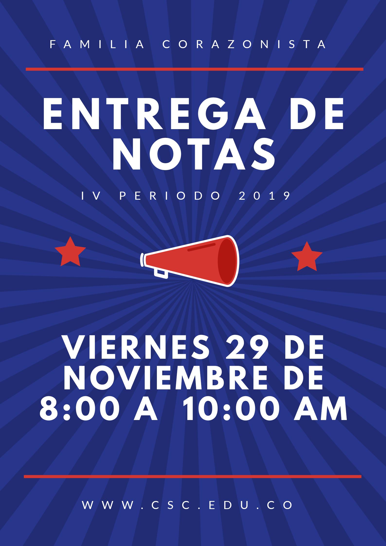 Entrega de notas IV período-2019